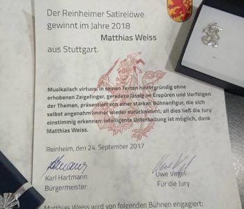 +++ MATTHIAS WEISS GEWINNT REINHEIMER SATIRELÖWEN +++